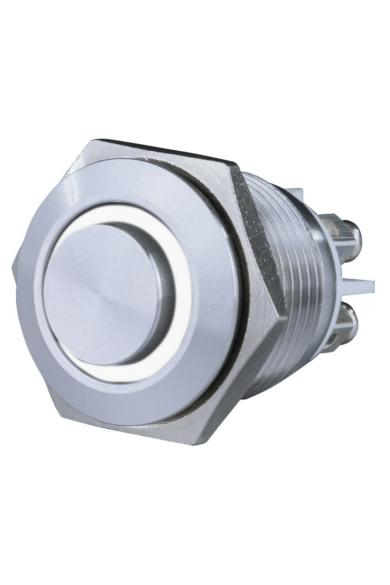 Csengő nyomógomb, beépíthető, fém, fehér LED fénnyel 12V, 1.5A  18mm