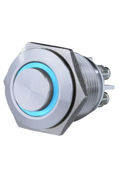 Csengő nyomógomb, beépíthető, fém, kék LED fénnyel 12V, 1.5A  18mm