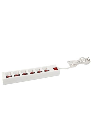 Asztali elosztó 6-os külön is kapcsolható dugaljakkal, 3m, 3x1.5, fehér, túlterhelés védelemmel
