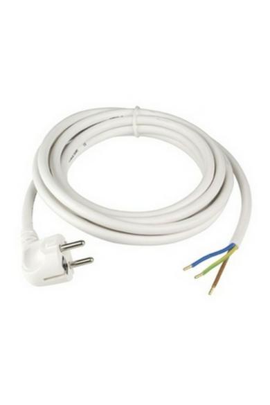 Csatlakozóvezeték földelt dugóval, 3m, 3x1.5, fehér, H05VV-F