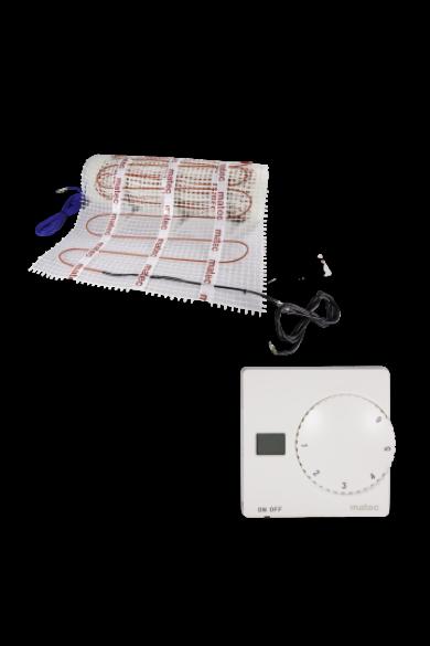 MATEC Fűtőszőnyeg szett, kétoldali betáplálás, 1,5m2, RTS-01 manuális termosztáttal: Zamel ZOD-15 150W/m2
