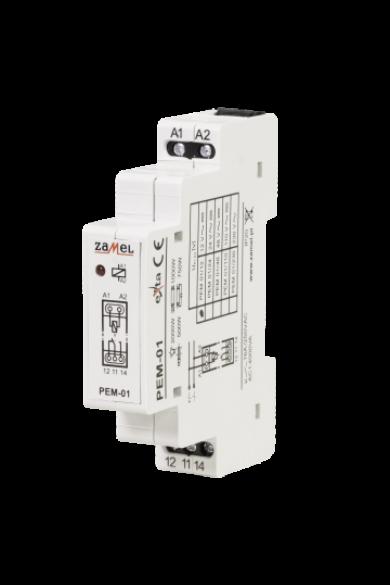 Hálózati elektromágneses relé, 12V AC/DC, 16A, PEM-01/012