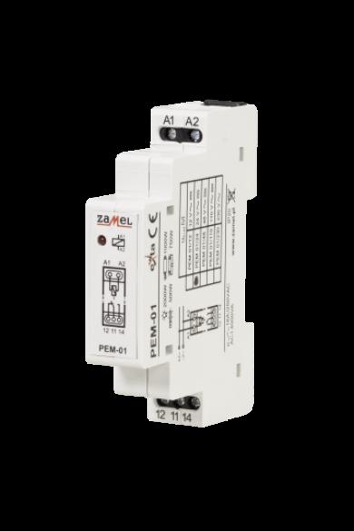 Hálózati elektromágneses relé, 24V AC/DC, 16A, PEM-01/024