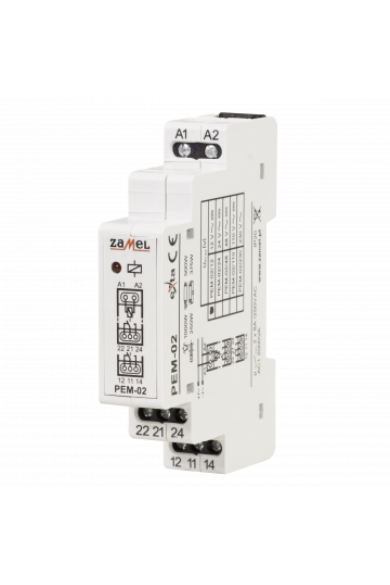 Hálózati elektromágneses relé, 12V AC/DC, 2x8A, PEM-02/012