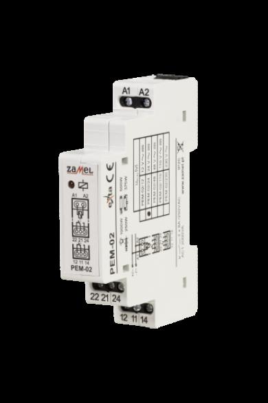 Hálózati elektromágneses relé, 24V AC/DC, 2x8A, PEM-02/024