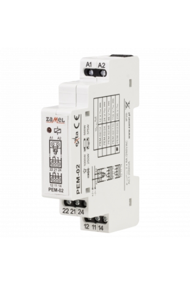 Hálózati elektromágneses relé, 230V AC, 2x8A, PEM-02/230