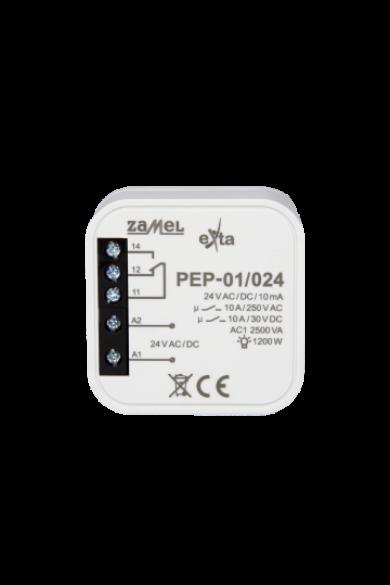 Hálózati elektromágneses relé, 24V AC/DC, 10A, PEP-01/024