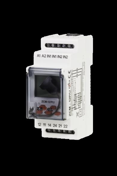 Digitális időkapcsoló, 2 csatornás, 24-250V AC / 30-300V DC, ZCM-12P/U