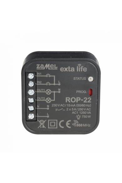 EXTA LIFE 2 csatornás vevőegység, 5A 1250VA, 230V, ROP-22