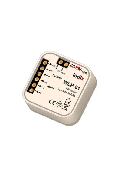 WLP-01, univerzális RGB erősítő, 10-14V DC, 2,5A, 3 kimenet