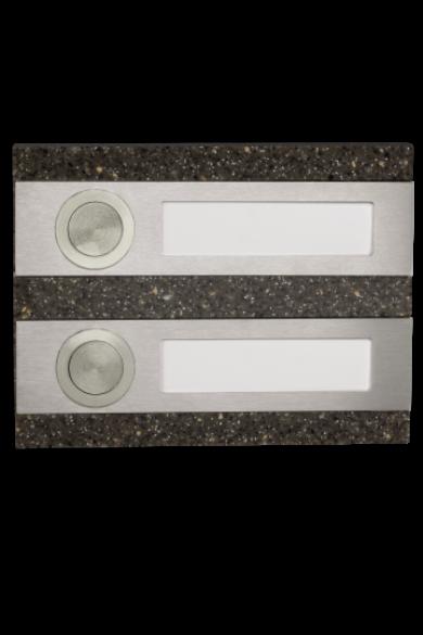Csengő nyomógomb, dupla, barna kő utánzat, 50V, IP20, PDK-250/2-BRA