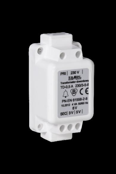 Csengő transzformátor, 230V / 3-5-8V, 0.5A, IP30, TD-230