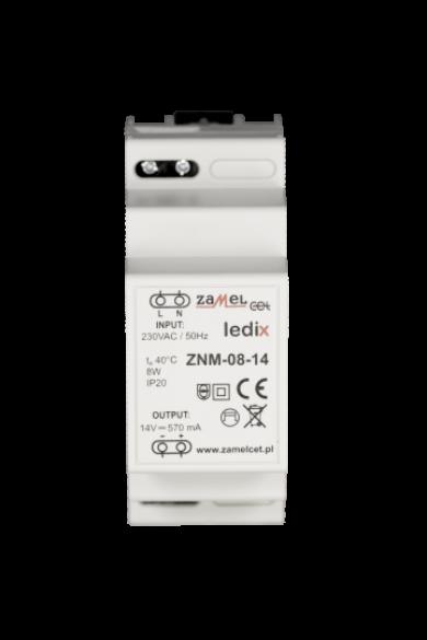 ZNM-08-14 LED tápegység; moduláris TH-35; 14V DC; 8W; IP20 (Ledix)