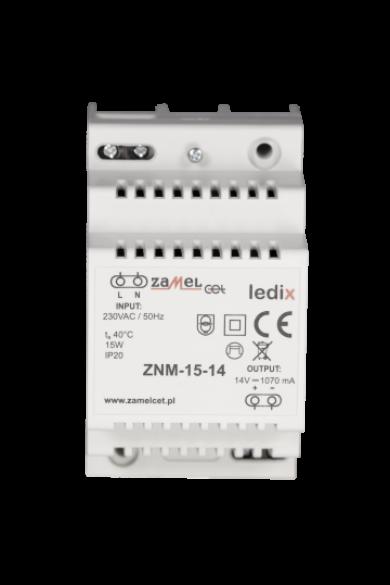 ZNM-15-14 LED tápegység; moduláris TH-35; 14V DC; 15W; IP20 (Ledix rendszer)