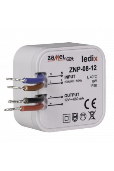 ZNP-08-12 LED tápegység; kötődobozba; 12V DC; 8W