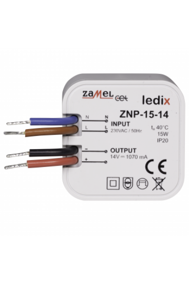 ZNP-15-14 LED tápegység; kötődobozba; 14V DC; 15W (Ledix)